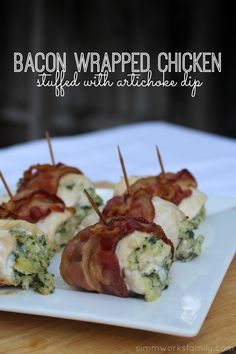 An easy dinner for the whole family - bacon wrapped chicken stuffed with artichoke dip AND homemade chicken nuggets in less than 30 minutes! Dukan Diet Recipes, Cooking Recipes, Bacon Recipes, Appetizer Recipes, Dinner Recipes, Dinner Ideas, Chicken Appetizers, Food Dishes, Main Dishes
