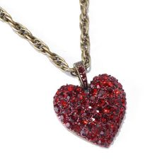 Sweet Romance Pave Crystal Heart Necklace (Ruby) Sweet Romance