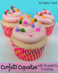 Confetti Cupcakes with Pink Strawberry Buttercream Frosting . . . the frosting is what makes this cupcake! Light, fluffy, and delicious! SixSistersStuff.com #dessert #cupcake #frosting