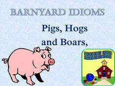 Barnyard Idioms: Pig, Hogs and BoarsTeaching ESL and Second Language Students American idiomatic expressions dealing with pigs and pork.  This is a comprehensive PowerPoint Show covering 28 figurative expressions about pigs, hogs, and bores.  Each figurative expression features a photo or illustration, a definition, and an example sentence. *Geared for teens and young adults *82 slides $