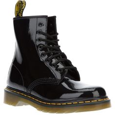 DR. MARTENS lace-up boots ($150) ❤ liked on Polyvore featuring shoes, boots, botas, accessories, black shoes, laced boots, patent boots, rubber sole boots and round toe boots