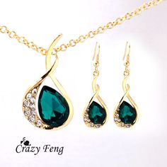 Cheap necklace cute, Buy Quality earrings rose directly from China necklace earring ring sets Suppliers:       Free Shipping Women's 18k Yellow Gold Filled Jewelry Emerald/Ruby/White CZ Diamond Austrian Crystal Wedding Rings