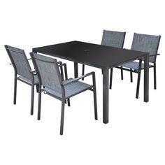 """""""Cosmo"""" Patio Dining Set - Grey - 5 Pieces"""