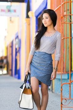 A walk around town :: Chambray skirt & Gold sandals : Wendy's Lookbook