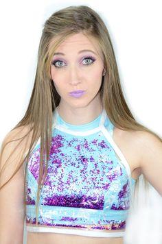 Liquid Glitter Crop Top - Galaxy Purple Blue Cotton Candy, Cute Crop Tops, Galaxy Art, Star Earrings, Glitter, Belly Button, Trending Outfits, Purple, Vintage
