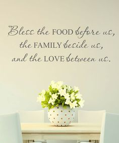 'Bless Food Family Love' Wall Quote