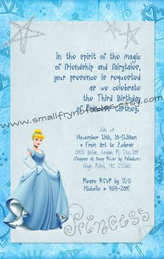 personalized cinderella blue princess party printable invite by www.smallfrynotables.etsy.com