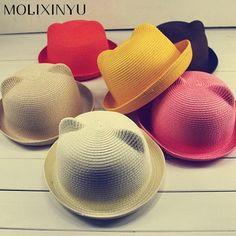 MOLIXINYU Mode Ohren Strohhüte Baby Hüte Für Mädchen Eimer Hut jungen Cap  Kinder Sonne Sommer Kappe a5a416eecaf