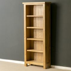 Roseland London Lightly Lacquered Solid Oak Large Bookcase is beautifully crafted from oak with pine supports, carries a modern contemporary style. Solid Oak Bookcase, Slim Bookcase, Large Bookcase, Wooden Bookcase, Rustic Shelves, Display Shelves, Shelving, Oak Bookshelves, Classic Home Furniture