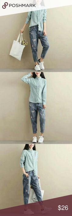 Butterfly Shirt Brand new. Material: Cotton blended  Sizes: M/L  Bust: 94/98cm  Shoulder: 39/40cm  Length: 64/66cm  Sleeve:60/61cm Tops Button Down Shirts