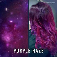 """Purple Haze"" galaxy-themed hair                                                                                                                                                                                 More"