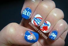 Blue jays baseball nail art !! Love!
