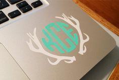 Custom Deer Antler Circle Monogram, Country Girl, Hunting Vinyl Laptop Computer Decal on Etsy, $8.00
