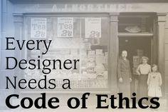 Ilustración de un artículo de la página web 'design shack' titulado 'Why Every Designer Needs a Code of Ethics'.  Lo he seleccionado no tanto por la imagen sino por el artículo que creo que nos podrá servir en el desarrollo del trabajo.