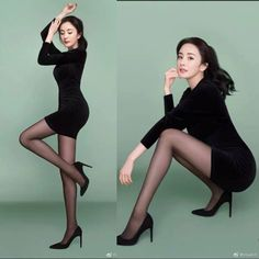 Black Tights Outfit, Tights And Heels, Beautiful Young Lady, Beautiful Asian Women, Pantyhose Outfits, Nylons, Sexy Outfits, Cool Outfits, Silky Legs
