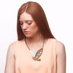 MARTIN PESCADOR leather necklace cream & copper by uyLaurel