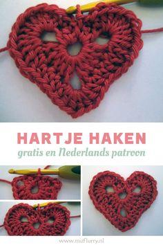 Dit is een makkelijk haakpatroon in het Nederlands om een hartje te haken. En ook gratis. Leuk om iets mee te versieren of om er een slinger mee te maken. Chrochet, Easy Peasy, Crochet Earrings, Stitch, Sewing, Om, Pattern, Projects, Inspiration