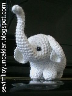 Amigurumi Baby Elephant Pattern (with trunk upward) by Denizmum. Cutest thing everAmigurumi Baby Elephant Pattern by Denizmum - please! Someone who can crochet make this for me :)PATTERN DEAL Buy 4 get 1 free ! You can order any 4 pattern and get 1 f Crochet Amigurumi, Amigurumi Patterns, Amigurumi Doll, Crochet Dolls, Ravelry Crochet, Crochet Baby Shoes, Cute Crochet, Booties Crochet, Slippers Crochet
