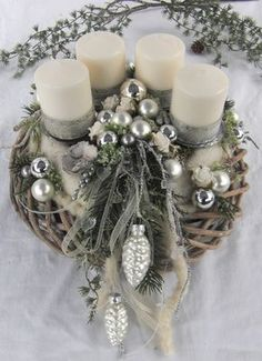 ** Noble advent wreath silver - white in shabby look ** Elaborately crafted ad ., ** Noble advent wreath silver - white in a shabby look ** Elaborately crafted advent wreath consisting of two wreaths. A gray limestone wicker wreath . Noel Christmas, Christmas Candles, Christmas Centerpieces, Rustic Christmas, Christmas Wreaths, Christmas Crafts, Christmas Decorations, Christmas Ornaments, Holiday Decor