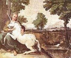 The Virgin with the Unicorn (Domenichino, working under Annibale Carracci), 1604-1605, Fresco, Farnese Palace, Rome