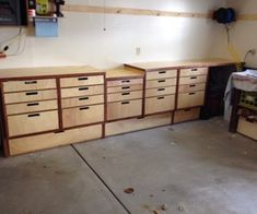 Easy Garage Storage and Bench This instructable will show how to build a cheap and simple garage storage and workbench out of plywood that will allow you to store all of your tools or gear . Workshop Storage, Workshop Organization, Garage Workshop, Garage Organization, Diy Workshop, Workshop Cabinets, Organized Garage, Organizing, Easy Garage Storage