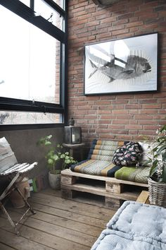 hunch, #sofa #brickwall #cousy #rustic #pallet #couch