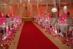 Red rose petals and diamond garland acrylic crystal beads wedding aisle decor. Description from pinterest.com. I searched for this on bing.com/images