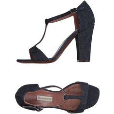 L' Autre Chose Sandals ($123) via Polyvore featuring shoes, sandals, blue, square toe shoes, blue sandals, blue shoes, cone heel sandals and cone heel shoes