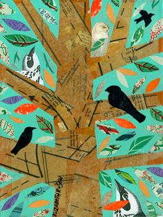 abstract collage ORIGINAL PAINTING birds in a by Elizabeth Rosen Art