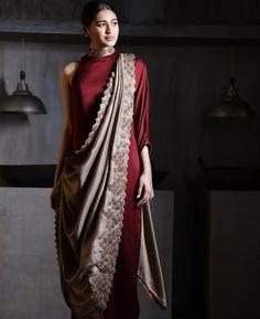 Beautiful saree style draped dress is part of Drape sarees - Drape Gowns, Draped Dress, Drape Sarees, Dhoti Saree, Churidar, Sari Design, Diy Design, Saree Wearing Styles, Saree Styles