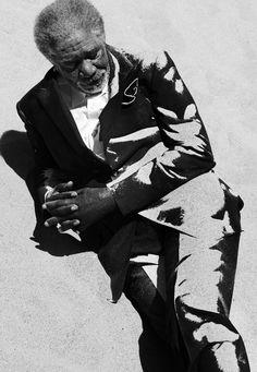 Morgan Freeman by Francesco Carrozzini, male actor, photo b/w.