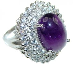 Love Bloom! Purple Amethyst, White Topaz Sterling Silver Ring s. 7 1/4 - 7.80g | $56.25 best price at Silver Rush Style!