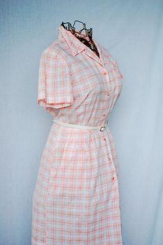 Vintage 1950s Pink Plaid Shirt Dress Size by CoziDivaBoutique, $40.00