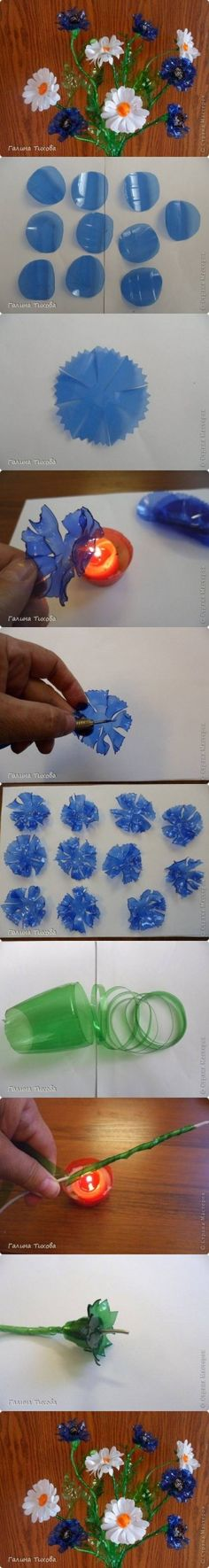 DIY Plastic Bottle Cornflowers and Daisies DIY Projects