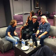 Angus, Brian's wife Brenda, Brian and Cliff backstage. Rock And Roll Bands, Rock Bands, Rock N Roll, Ac Dc, Cliff Williams, Thunder From Down Under, Bon Scott, Brian Johnson, Angus Young
