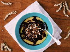Sladká raňajková kaša z polenty Acai Bowl, Sweet Tooth, Polenta, Pudding, Vegan, Ale, Breakfast, Desserts, Food