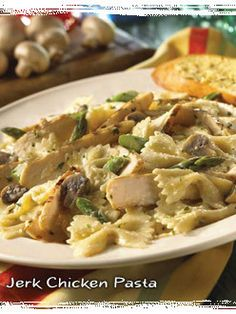 Jerk Chicken Pasta recipe from Bahama Breeze | although this recipe was from their site; it isn't exactly how it tastes at the restaurant. Still pretty good tho. Just not the exact recipe.