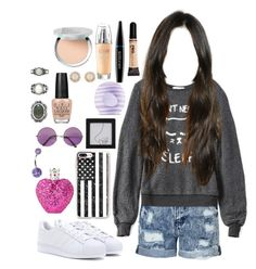"""""""Untitled #807"""" by brunette-biatch ❤ liked on Polyvore featuring Topshop, Casetify, adidas, Glamorous, MAKE UP FOR EVER, Wildfox, Eos, OPI, Vera Wang and L'Oréal Paris"""