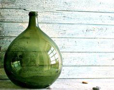 Glass Jar, Demijohn, Carboy, Blown glass, Flower pot, Money box, Home decor, Vintage 1800, Big Glass bottle, Italian, French, Housewares
