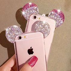 Disney 3D Mickey Mouse Ear Case For iPhone Rhinestone Ears Soft Transparent