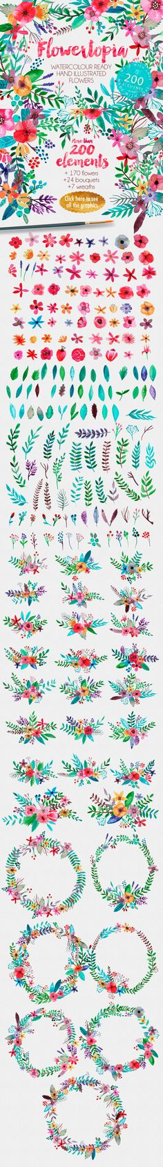 these are good colors, maybe just a little too strong, though. clip art feminine watercolor flowers floral hand illustrations
