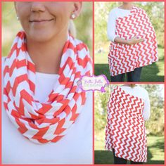 Pumpkin Orange Chevron Hold Me Close Nursing Scarf, Nursing Cover, Infinity Nursing Scarf on Etsy, $20.00
