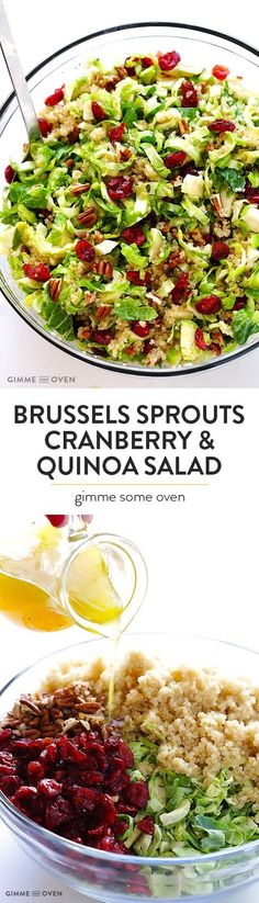 Brussels Sprouts, Cranberry & Quinoa Salad -- healthy, easy to make, and SO tasty! | gimmesomeoven.com