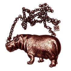 Hippopotamus Necklace Copper - I love this!!