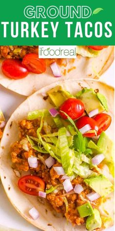 Ground Turkey Tacos are saucy flavorful and oh so easy in 20 minutes. Your family will not miss the beef and ask to make this recipe again and again! Delicious Crockpot Recipes, Healthy Turkey Recipes, Healthy Family Meals, Ground Turkey Recipes, Easy Healthy Dinners, Healthy Breakfast Recipes, Clean Eating Recipes, Cooking Recipes, Healthy Food