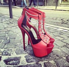 PADEGAO Elegant and stylish high-heels women's sandals wedding party sandals gold chain decorat plus size SIZE Red High Heels, Womens High Heels, Heeled Boots, Shoe Boots, Beautiful Heels, Hot Shoes, Crazy Shoes, Women's Shoes, Pretty Shoes