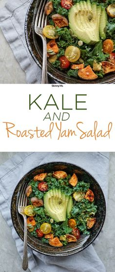 This Kale and Roasted Yam Salad is far from ordinary. The brightly colored veggie dish calls for unconventional salad foods like sweet potatoes to amp up the flavor. It's really delicious!