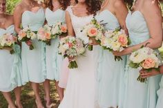 coral and mint wedding party | ... Mint Green And Coral Orchard Wedding Part 1 - Bridal Musings Wedding