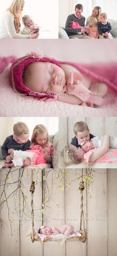 newborn baby girl with family and older siblings