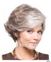 Elegant Short Curly Capless Grey Synthetic Hair Wig  US $16.80